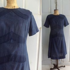 Pretty Navy Blue 1960s Cotton Dress with Lace and Pintucks =====> Rare Larger Size! $72.00