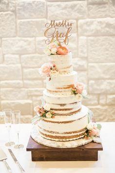 Semi-naked wedding cake idea - rustic + elegant wedding cake - four-tier, semi-naked wedding cake with fresh flowers and wooden, laser-cut cake topper {Adria Lea Photography}