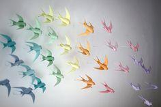 Mabona's origami swallows installation