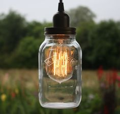 Edison Bulb Vintage Industrial Pendant Light Mason Kilner Jam Jar Rustic Lamp in Home, Furniture & DIY, Lighting, Ceiling Lights & Chandeliers | eBay