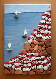 Talent and imagination - 25 creative craft ideas to decorate pebbles in . - Talent and imagination – 25 creative craft ideas to transform pebbles into decorative objects – - Stone Crafts, Rock Crafts, Diy And Crafts, Crafts For Kids, Arts And Crafts, Kids Diy, Yarn Crafts, Decor Crafts, Pebble Painting