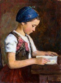 """Oszkár Glatz, """"A Girl Reading"""""""