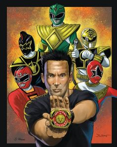 Here is my latest Power Rangers print. This one is of legendary Ranger Tommy! I teamed up with digital painter Jenaro Pagan for this one. Tommy Oliver Power Rangers, Tommy Power, Power Rangers 2017, Go Go Power Rangers, Jason David Frank, Power Rengers, Muriel, Fox Kids, Green Ranger