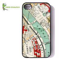 iPhone 4 Case Vintage Paris Map Rubber Bumper by caseosaurus