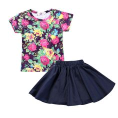 "Kids Tales Girl's Skirt Set Flower Short T-shirt Summer 2pc Outfits. For Summer. Style: Casual. Dress Style:Short skirt. Sleeve Style:Regular. Neckline:O-Neck. Please Read ""Size Specification"" In ""Product Description"" To Make Sure The Size You Choose Fits As Expected. Made in China. Please ignore the estimated delivery date,it usually takes 8-15 days for delivery."
