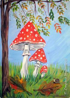 """Благодаря работе Марины """"Мы рисуем осень"""" (http://stranamasterov.ru/node/1049345), у нас тоже появилась своя осенняя рощица. Первая работа моя, потом немного детских (возраст 5-6 лет). фото 24"""
