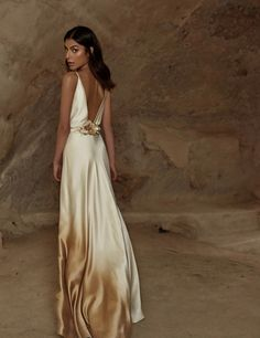 "<span style=""font-weight: 400;"">Backless, ombre silk satin floor length gown, with an effortless feminine flow</span>"