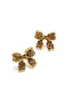 Gold with brown Rhinestones Bow Earrings