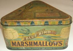 Vintage triangular Blue Bird Marshmallow tin, lithographed, Harry Horne Co Tin Can Alley, Spice Tins, Coffee Tin, Vintage Trunks, Tin Containers, Vintage Packaging, Vintage Cookies, Antique Boxes, Tin Boxes