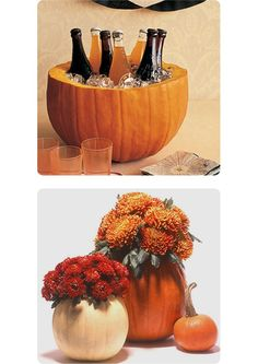 decorating for a fall party. put a glass bowl inside pumpkin before filling