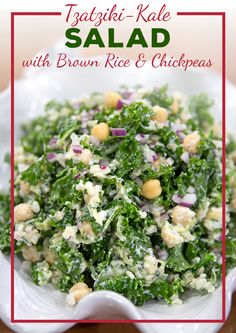 You won't even realize the dinner salad you're preparing is healthy! Try this creamy tzatziki-kale salad tonight. Yummy Recipes, Dinner Recipes, Cooking Recipes, Healthy Recipes, Kale Salad, Soup And Salad, Olive Recipes, Braised Chicken, Mediterranean Diet Recipes
