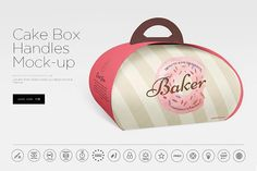 Cake Box Handles Mock-up by dennysmockups on @creativemarket