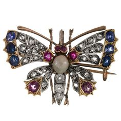Victorian Pearl Gemstone Silver Gold Butterfly Pin/Pendant | From a unique collection of vintage more jewelry at https://www.1stdibs.com/jewelry/more-jewelry-watches/more-jewelry/