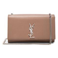 Saint Laurent Medium Monogramme Kate Chain Bag (56.185 UYU) ❤ liked on Polyvore featuring bags, handbags, purses, bolsas, clutches, chain strap purse, yves saint laurent bags, man bag, beige handbags and beige purse