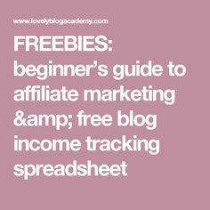 FREEBIES Beginners Guide To Affiliate Marketing Free Blog Income Tracking Spreadsheet