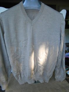 Joseph And Lyman Light Brown 100% Merino Extra Fine Wool V Neck Sweater EUc #JosephLyman #VNeck
