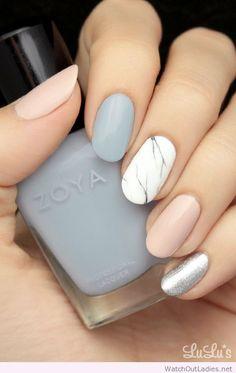 Marble,+natural+and+grey+nails+