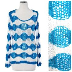 """Blue White Crochet Loose Fit Sweater Large New Unbelievably gorgeous sweater and what a beautiful shade of ocean blue.  Perfect for year round wear.  The crocheting detail on this sweater is absolutely amazing!!!  55% ramie & 45% cotton.    The measurements listed are with the garment laying flat and unstretched.  This is a substantial amount of stretch available so please add a few inches to the measurements.    armpit to armpit 44"""" shoulder to shoulder 23"""" sleeve length 24"""" length of…"""