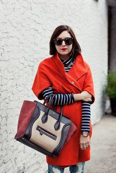 orange coat + stripes Trina Turk $550