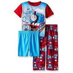 Thomas the Train Little Boys Blue Prints and Engines 3-Piece Pajama Set