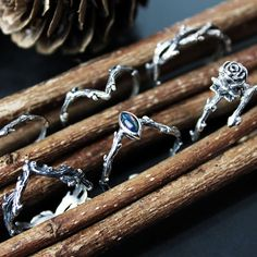 """✧♆✧ Meet our Hysminai Series - """"The Personified Spirits of Battle & Combat"""" These fierced entwined thorn stackers are a force to be reckoned with! ✧♆✧ shopdixi.com ✧♆✧ dixi // jewellery // jewelry // boho // bohemian // grunge // goth // dark // mystic // magic // witchy // sterling silver // rings // thorn // wild // wolves"""