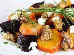 Roasted Beet Salad With Walnuts & Goat Cheese