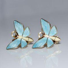 Vintage Sterling Norway Einar Modahl Powder Blue Guilloche Enamel Butterfly Earrings