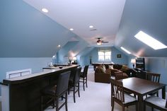 Home Theater Room Paint Color Design, Pictures, Remodel, Decor and Ideas - page 23 Bonus Room Design, Media Room Design, Attic Design, Design Room, Playroom Design, Loft Design, Attic Renovation, Attic Remodel, Room Above Garage