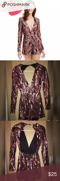 Sequin Romper NEVER WORN! Love the look, it's just too small for me. I wear XS, but this definitely fits more like an extra small (XXS). Sequin romper in rose gold & black with long sleeves, front deep V, open back and zipper closure. Shorts