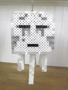 3D Minecraft Ghast Perler Bead Statue by TheMeltedGeek