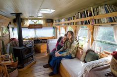 Spacious and homey school bus conversion
