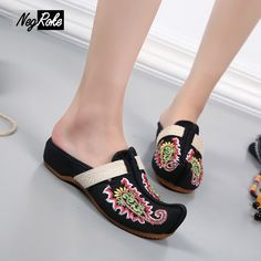 Special offer Fashion paillette canvas shoes slippers women casual embroidery women shoes Retro flip flops sandals oxford shoes for women just only $14.51 with free shipping worldwide  #womenshoes Plese click on picture to see our special price for you