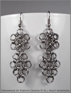 Agnes - unique chainmaille earrings. #jewelry #ksenyajewelry #earrings #chainmaille #wirejewelry