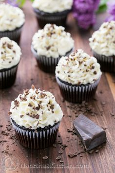 Chocolate Cupcakes with White Chocolate Frosting-6