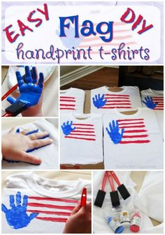 Fun DIY of July Handprint Flag T-Shirts Craft Idea We have a really fun and easy DIY project for 4th July Crafts, Fourth Of July Crafts For Kids, Fourth Of July Shirts, Patriotic Crafts, Fouth Of July Crafts, Toddler Crafts, Preschool Crafts, Diy Crafts, Paper Crafts