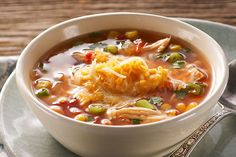 With all the flavors of your favorite Mexican dinner in one pot, this will be your new favorite soup. Buying a rotisserie chicken makes the dish come together fast.