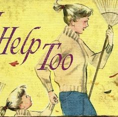 1961 I Help Too Children's Book raking leaves by TheIDconnection, $10.00