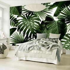 nature inspired Tropical Feelings Wallpaper Beautiful unique Wall Decor Forest Homes Natural Decor Nature inspired Design home decor Tropical Wall Decor, Unique Wall Decor, Tropical Interior, Tropical Homes, Tropical Furniture, Tropical Design, Tropical Style, Tropical Paradise, Master Bedroom Interior