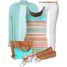 Multi colored striped tank with light teal sweater and brown flats. Shown with white pants but also great with a white skirt Simple Casual Outfits, Simple Summer Outfits, Fall Outfits For Work, Modest Outfits, Cool Outfits, Fashion Outfits, Church Outfits, Church Clothes, Work Clothes