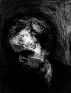Frank Auerbach - charcoal and eraser drawing. Auerbach used to create layer upon layer of medium on his drawings. At the exhibition at the Tate that I recently visited, a layer of the paper had literally worn away where he had been erasing the detail. Frank Auerbach, Charcoal Portraits, Charcoal Drawings, A Level Art, Abstract Portrait, Chiaroscuro, Drawing Techniques, Life Drawing, Sculpture
