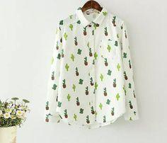 Turn-down collar long sleeve literary Fresh cactus print shirt blouse mori girl