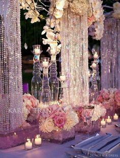 Glamorous Pink Tabletop by Karen Tran Decoration Table, Reception Decorations, Event Decor, Wedding Centerpieces, Bling Centerpiece, Chandelier Centerpiece, Bling Wedding Decorations, Sparkle Decorations, Flower Centerpieces