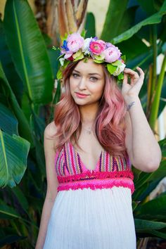 pink hair and a flower crown