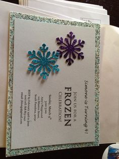 Frozen invites. I love the blue and purple snow flakes on this, so cute and  simple
