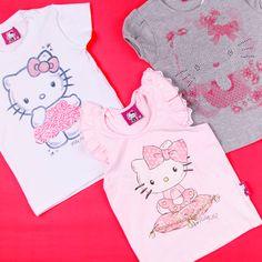 A linha de roupas da Hello Kitty apresenta uma coleção com estampas fofas e modelagem confortável. Conheça os modelos que combinam com sua bebê: www.Dinda.com.br