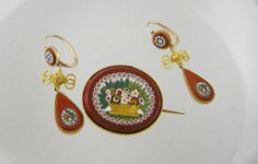 Antique Italian Micro Mosaic Floral 14 KT Gold Earrings AND Brooch | eBay