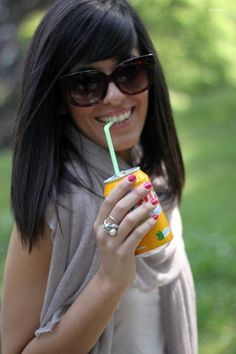 cute black hair, sunglasses and that smile :)