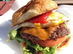 GoGo's Eggcellence... a burger created by Carlos Gomez. Available at AJ Bombers at Miller Park for the month of June 2015.