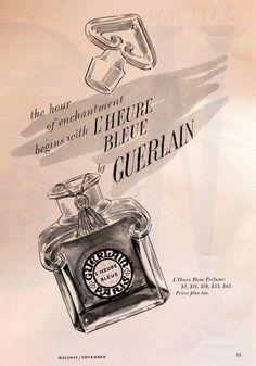 Guerlain L'Heure Bleu Perfume Ad - Fragrance - 1960 - Retro Vintage Advertising 1960s 60s ad advert advertising advertisement gift frame drawing illustration bottle black and white vanity 10.00 USD #goriani