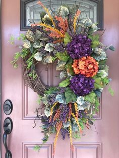 Your place to buy and sell all things handmade Door Wreaths, Grapevine Wreath, Wreath Fall, Autumn Wreaths For Front Door, Spring Wreaths, Hydrangea Colors, Hydrangea Wreath, Lavender Wreath, Homemade Wreaths